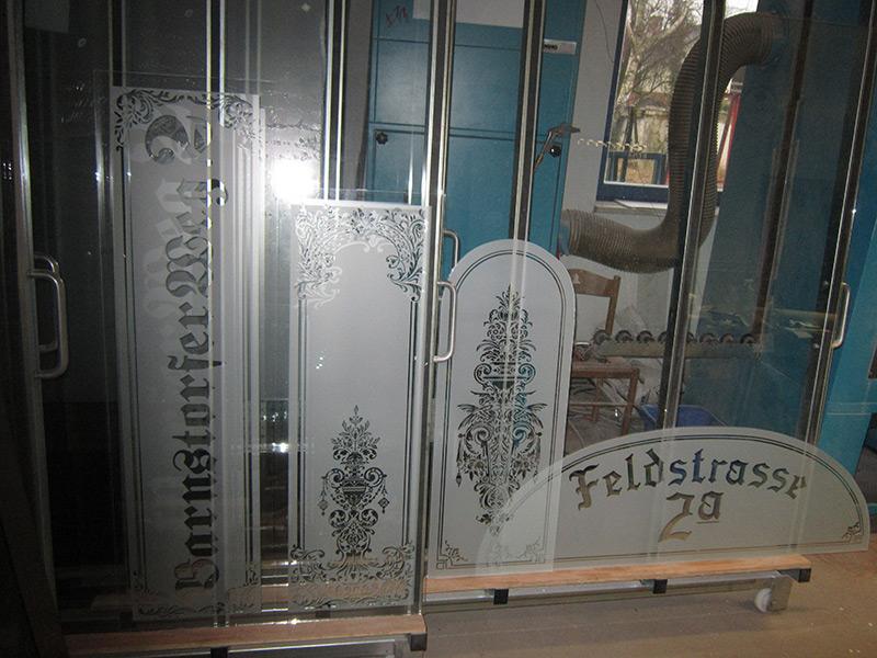 sandgestrahltes glas f r fenster t ren in hotels restaurants cafe pub glas gestaltung. Black Bedroom Furniture Sets. Home Design Ideas